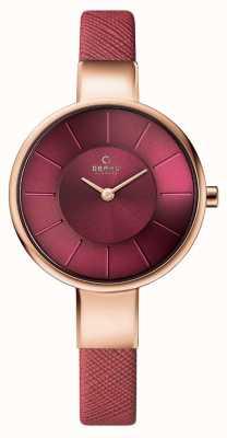 Obaku Womans subiu caso de ouro pulseira de couro rosa mostrador rosa V149LXVQRD