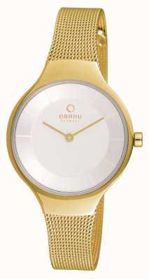 Obaku Caso de ouro da mulher ouro malha cinta mostrador branco V166LXGIMG