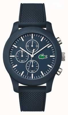 Lacoste Unisex navy pulseira de borracha marinha cronógrafo dial 2010824