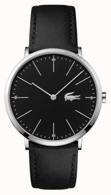Lacoste Mens pulseira de couro preto caixa de aço de discagem preta 2010873