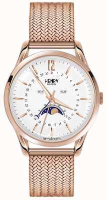 Henry London Mens moonphase subiu ouro pvd banhado HL39-LM-0162