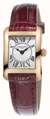 Frederique Constant Womens carree pulseira de couro marrom mostrador prateado FC-200MC14