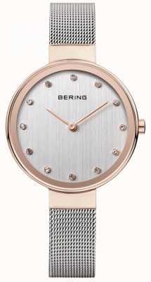 Bering Mostrador prateado de cinta de malha de aço inoxidável para mulher 12034-064