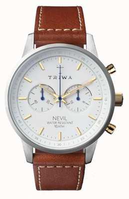 Triwa Mens neve nevil pulseira de couro marrom mostrador branco NEST115-SC010215