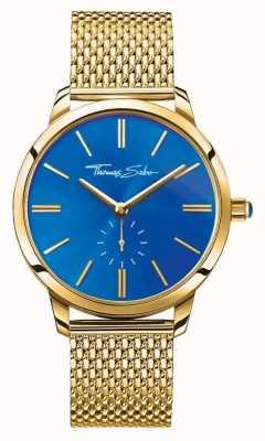Thomas Sabo Espírito glam da mulher em aço inoxidável ouro malha cinta azul discagem WA0274-264-209-33