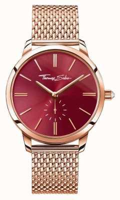 Thomas Sabo Womans glam espírito aço subiu malha de ouro pulseira de discagem vermelha WA0276-265-212-33