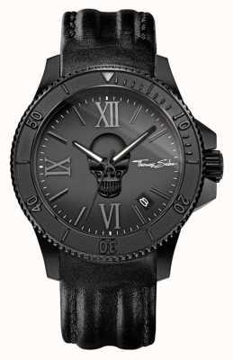 Thomas Sabo Mens rebelde ícone pulseira de couro preto caixa de aço preta WA0278-213-203-44