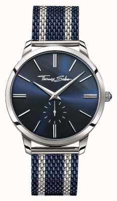 Thomas Sabo Mens rebelde espírito de dois tons pulseira de malha de aço azul discagem WA0268-281-209-42