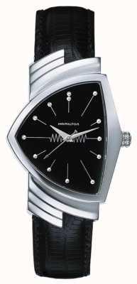 Hamilton Mens ventura quarts pulseira de couro preto mostrador preto H24411732