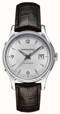 Hamilton Mens jazzmaster viewmatic pulseira de couro com mostrador prateado H32515555