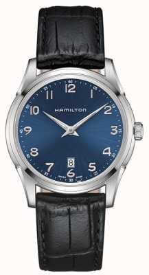 Hamilton Mens jazzmaster thinline blue dial pulseira de couro preto H38511743
