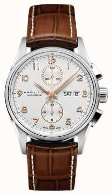 Hamilton Mens jazzmaster maestro branco cronógrafo pulseira de couro de discagem H32576515