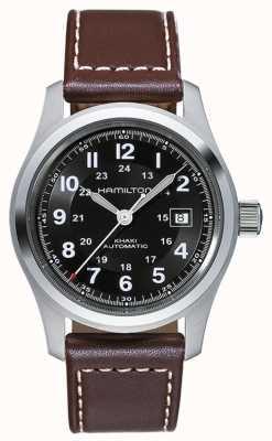 Hamilton Mens khaki campo auto 42mm mostrador preto pulseira de couro marrom H70555533