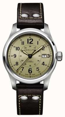 Hamilton Mens khaki campo auto khaki dial pulseira de couro marrom H70595523