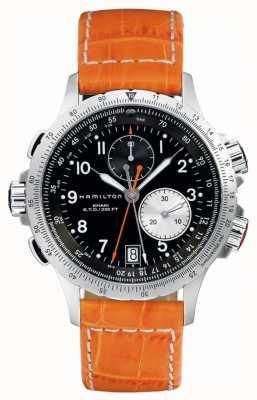 Hamilton Mens khaki eto flyback pulseira de couro laranja H77612933