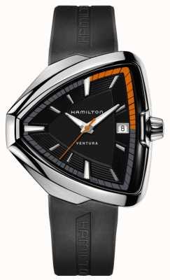 Hamilton Mens ventura elvis 80 preto mostrador pulseira de borracha preta H24551331