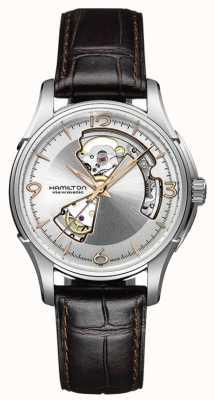 Hamilton Mens jazzmaster open heart pulseira de couro marrom mostrador prateado H32565555