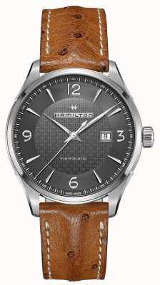 Hamilton Mens jazzmaster viewmatic pulseira de couro marrom automático H32755851