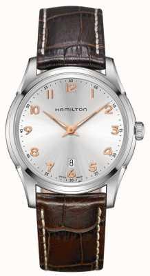 Hamilton Mens jazzmaster thinline pulseira de couro marrom mostrador prateado H38511513