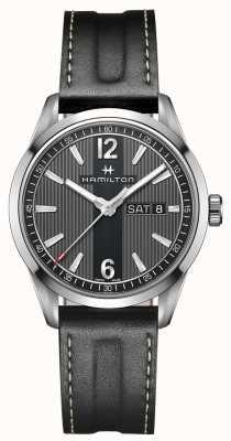 Hamilton Mens broadway dia data pulseira de couro preto mostrador preto H43311735