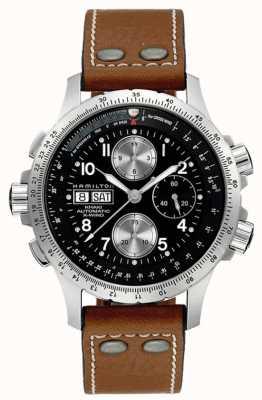 Hamilton Mens khaki x vento marrom pulseira de couro preto dial H77616533