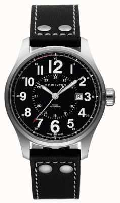Hamilton Mens cáqui oficial preto automático pulseira de couro preto discar H70615733