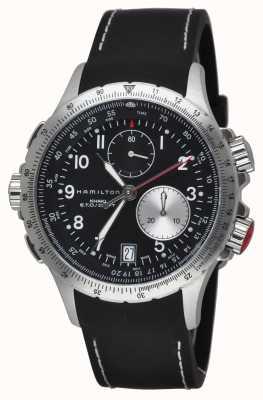 Hamilton Mens khaki eto flyback cronógrafo pulseira de borracha preta H77612333