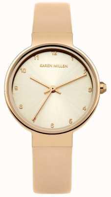 Karen Millen Womens rosa pulseira de couro de ouro subiu mostrador de ouro KM131CRG