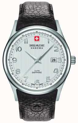 Swiss Military Hanowa Mens navalus pulseira de couro marrom mostrador prateado 6-4286.04.001