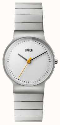 Braun Mostrador branco pulseira de aço inoxidável das mulheres BN0211SLBTL