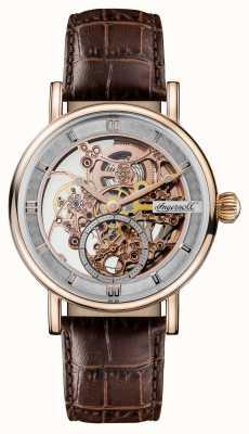 Ingersoll Mens 1892 a pulseira de couro marrom automático herald I00401