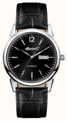 Ingersoll Mens 1892 o novo refúgio pulseira de couro preto mostrador preto I00502