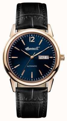 Ingersoll Mens 1892 o novo refúgio pulseira de couro preto mostrador azul I00504