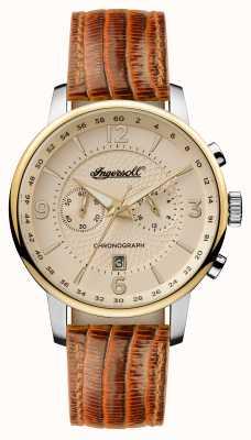 Ingersoll Mens 1892 o dial de creme de cinta de couro marrom grafton I00603