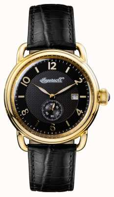 Ingersoll Mens 1892 a nova pulseira de couro preto de inglaterra mostrador preto I00802