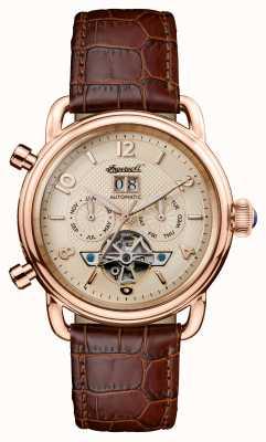 Ingersoll Mens 1892 a nova pulseira de couro marrom da Inglaterra I00901
