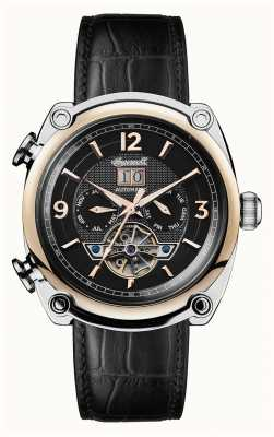 Ingersoll Mens 1892 o michigan pulseira de couro preto mostrador preto I01102