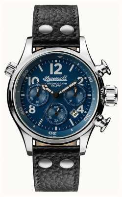 Ingersoll Mens descoberta a pulseira de couro preto armstrong mostrador azul I02001