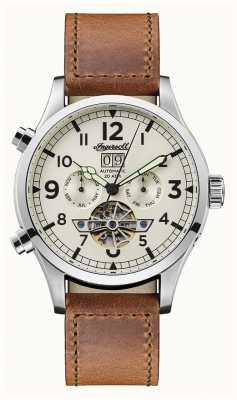 Ingersoll Mens descoberta a pulseira de couro marrom armstrong mostrador branco I02101