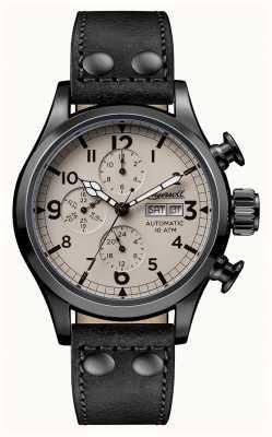Ingersoll Mens descoberta a pulseira de couro preto armstrong mostrador bege I02202