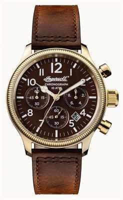 Ingersoll Mens descoberta o marrom marrom pulseira marrom apsley dial I03802