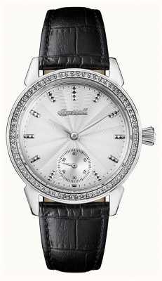 Ingersoll Crônica das mulheres a pulseira de couro preto pulseira de prata gem I03701