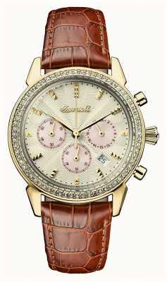 Ingersoll Crônica das mulheres a pulseira de couro marrom pulseira de ouro I03902