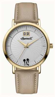 Disney By Ingersoll União das mulheres a disney pulseira de couro bege mostrador prateado ID00503