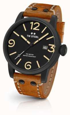 TW Steel Mens disverte preto sanduíche dial pulseira de couro tan 45 milímetros MS31