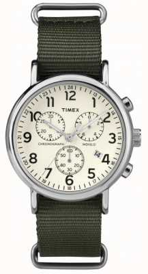 Timex Cronógrafo unissex weekender creme de discagem TW2P71400
