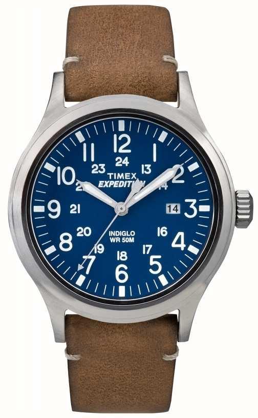 bb854d93585 Timex Mens Scout Azul Mostrador Pulseira De Couro Marrom TW4B01800 ...