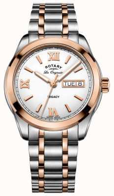 Rotary Relógio masculino legado em dois tons GB90175/06