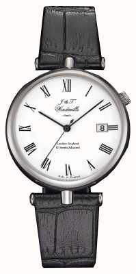 J&T Windmills Relógio mecânico com agulha de linha masculina, pulseiras pretas WGS10004/01