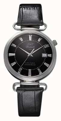 J&T Windmills Mens throgmorton relógio mecânico mostrador preto prata esterlina WGS10005/04